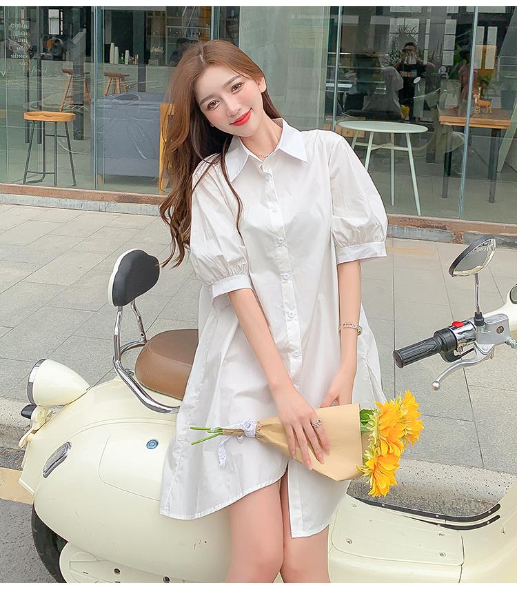 韓国 ファッション ワンピース 春 夏 カジュアル PTXJ956  太ベルト イレギュラーヘム パフスリーブ オルチャン シンプル 定番 セレカジの写真13枚目