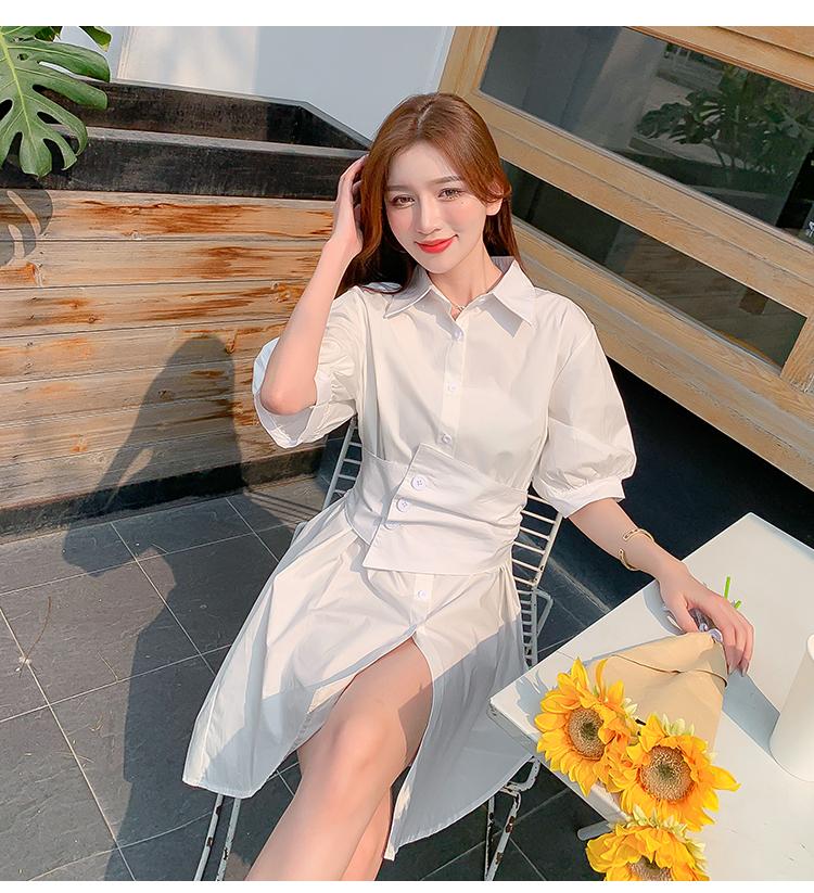 韓国 ファッション ワンピース 春 夏 カジュアル PTXJ956  太ベルト イレギュラーヘム パフスリーブ オルチャン シンプル 定番 セレカジの写真15枚目