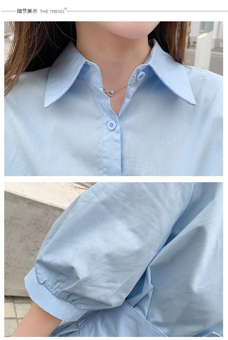 韓国 ファッション ワンピース 春 夏 カジュアル PTXJ956  太ベルト イレギュラーヘム パフスリーブ オルチャン シンプル 定番 セレカジの写真18枚目