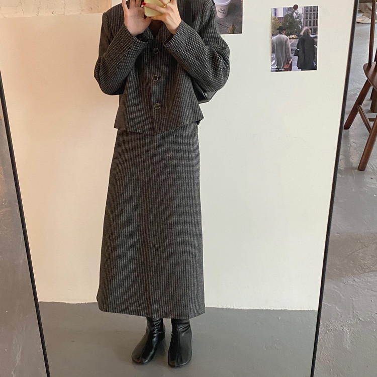 韓国 ファッション セットアップ 春 夏 秋 カジュアル PTXJ975  渋色 オーバーサイズ ノーカラー シック オルチャン シンプル 定番 セレカジの写真4枚目