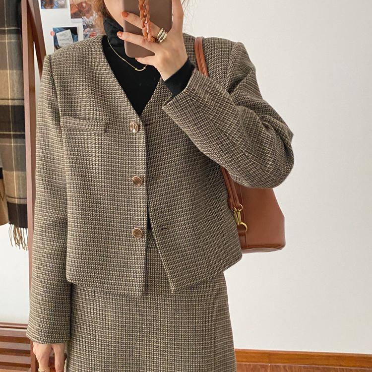 韓国 ファッション セットアップ 春 夏 秋 カジュアル PTXJ975  渋色 オーバーサイズ ノーカラー シック オルチャン シンプル 定番 セレカジの写真5枚目