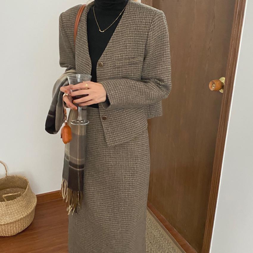 韓国 ファッション セットアップ 春 夏 秋 カジュアル PTXJ975  渋色 オーバーサイズ ノーカラー シック オルチャン シンプル 定番 セレカジの写真7枚目