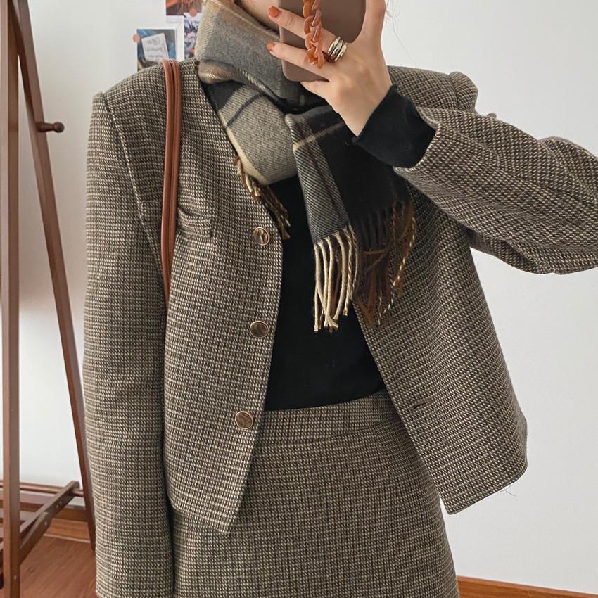 韓国 ファッション セットアップ 春 夏 秋 カジュアル PTXJ975  渋色 オーバーサイズ ノーカラー シック オルチャン シンプル 定番 セレカジの写真9枚目