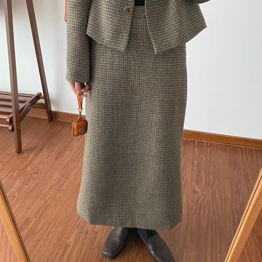 韓国 ファッション セットアップ 春 夏 秋 カジュアル PTXJ975  渋色 オーバーサイズ ノーカラー シック オルチャン シンプル 定番 セレカジの写真10枚目