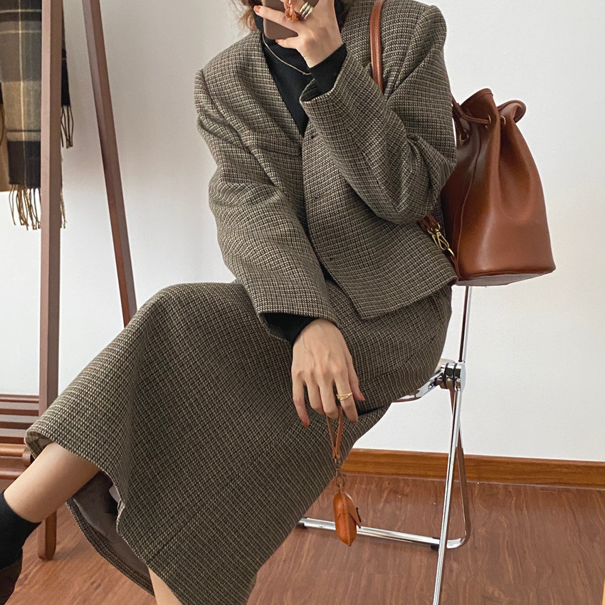 韓国 ファッション セットアップ 春 夏 秋 カジュアル PTXJ975  渋色 オーバーサイズ ノーカラー シック オルチャン シンプル 定番 セレカジの写真13枚目