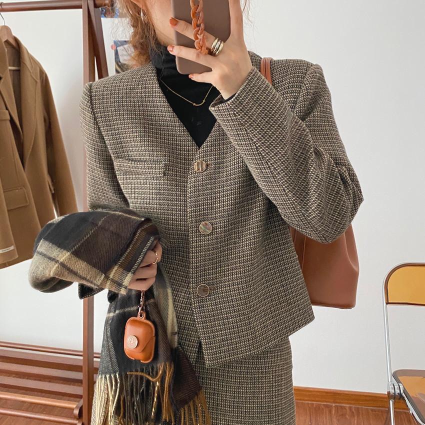 韓国 ファッション セットアップ 春 夏 秋 カジュアル PTXJ975  渋色 オーバーサイズ ノーカラー シック オルチャン シンプル 定番 セレカジの写真14枚目