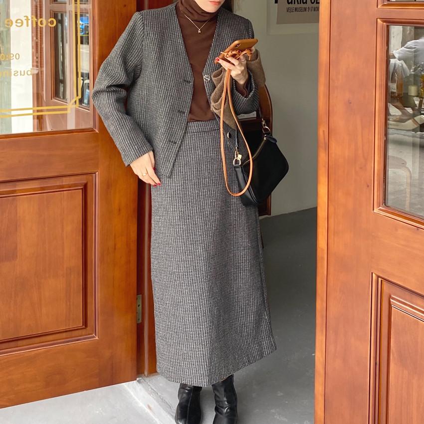 韓国 ファッション セットアップ 春 夏 秋 カジュアル PTXJ975  渋色 オーバーサイズ ノーカラー シック オルチャン シンプル 定番 セレカジの写真16枚目