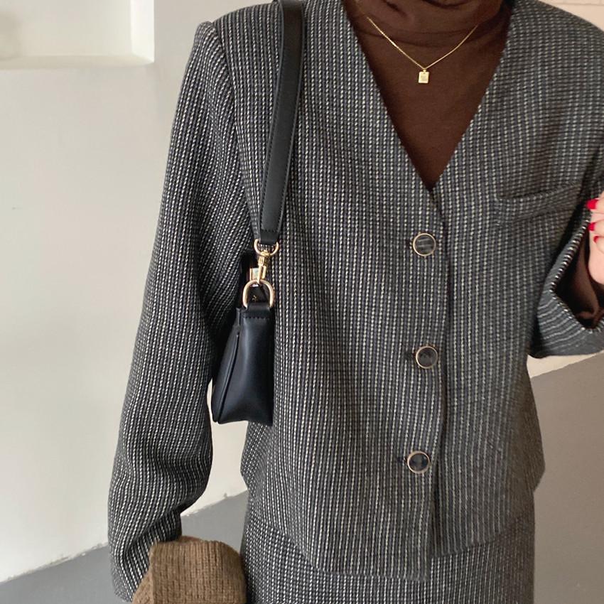 韓国 ファッション セットアップ 春 夏 秋 カジュアル PTXJ975  渋色 オーバーサイズ ノーカラー シック オルチャン シンプル 定番 セレカジの写真20枚目