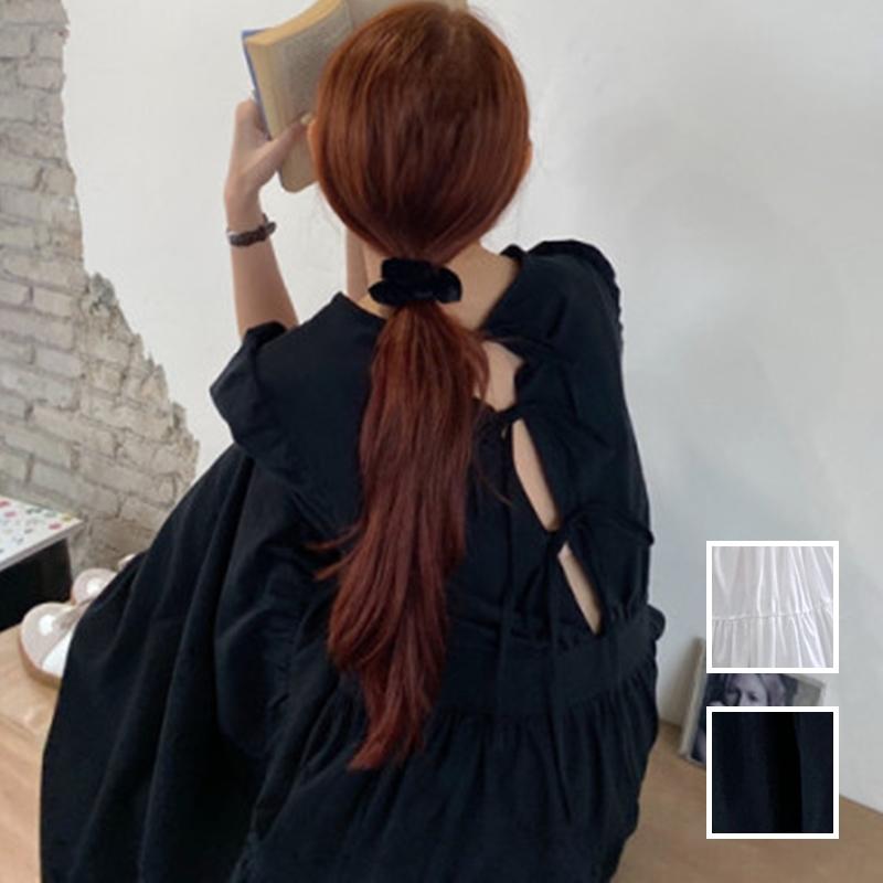 韓国 ファッション ワンピース 春 夏 カジュアル PTXJ990  バックリボン 背中見せ ティアード マキシ オルチャン シンプル 定番 セレカジの写真1枚目