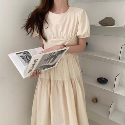 韓国 ファッション ワンピース 春 夏 カジュアル PTXJ990  バックリボン 背中見せ ティアード マキシ オルチャン シンプル 定番 セレカジの写真2枚目