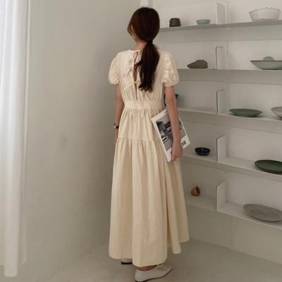 韓国 ファッション ワンピース 春 夏 カジュアル PTXJ990  バックリボン 背中見せ ティアード マキシ オルチャン シンプル 定番 セレカジの写真4枚目