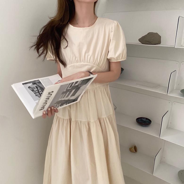 韓国 ファッション ワンピース 春 夏 カジュアル PTXJ990  バックリボン 背中見せ ティアード マキシ オルチャン シンプル 定番 セレカジの写真5枚目
