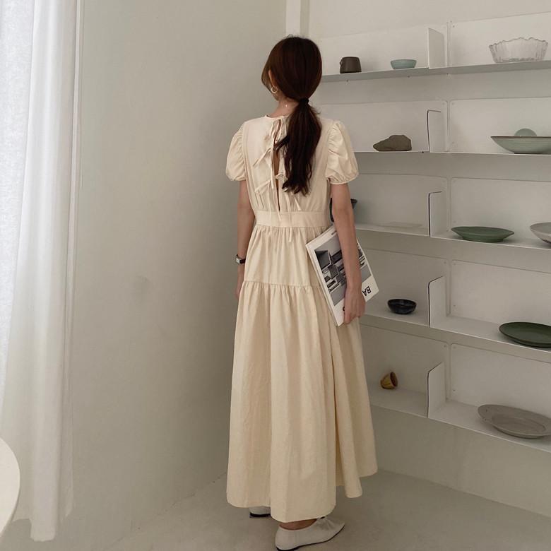 韓国 ファッション ワンピース 春 夏 カジュアル PTXJ990  バックリボン 背中見せ ティアード マキシ オルチャン シンプル 定番 セレカジの写真7枚目