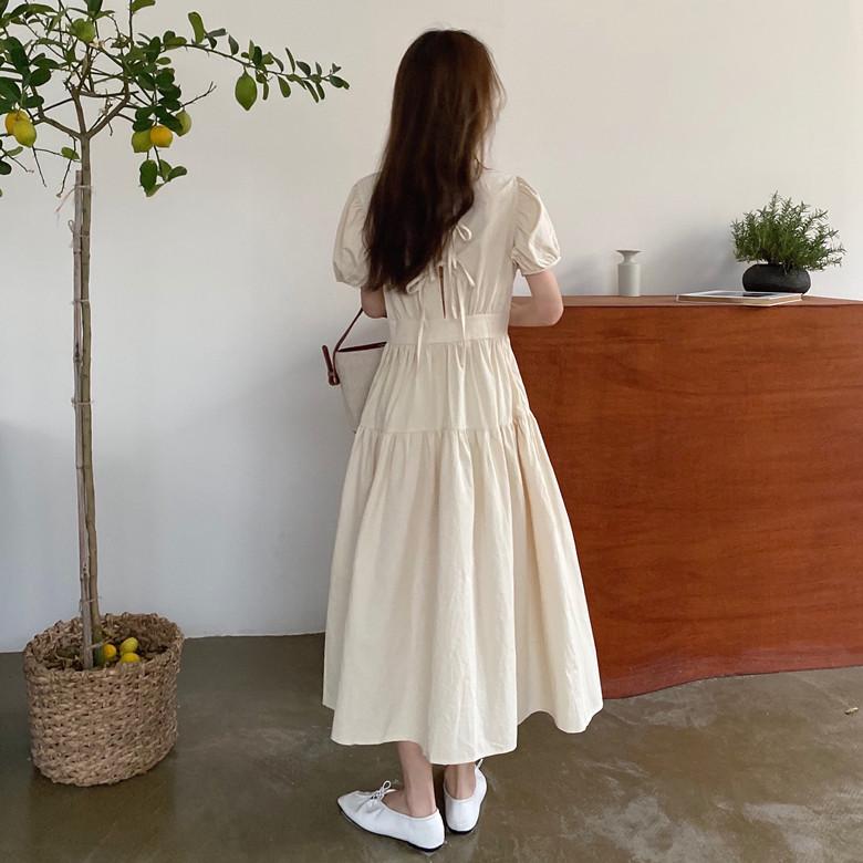 韓国 ファッション ワンピース 春 夏 カジュアル PTXJ990  バックリボン 背中見せ ティアード マキシ オルチャン シンプル 定番 セレカジの写真8枚目