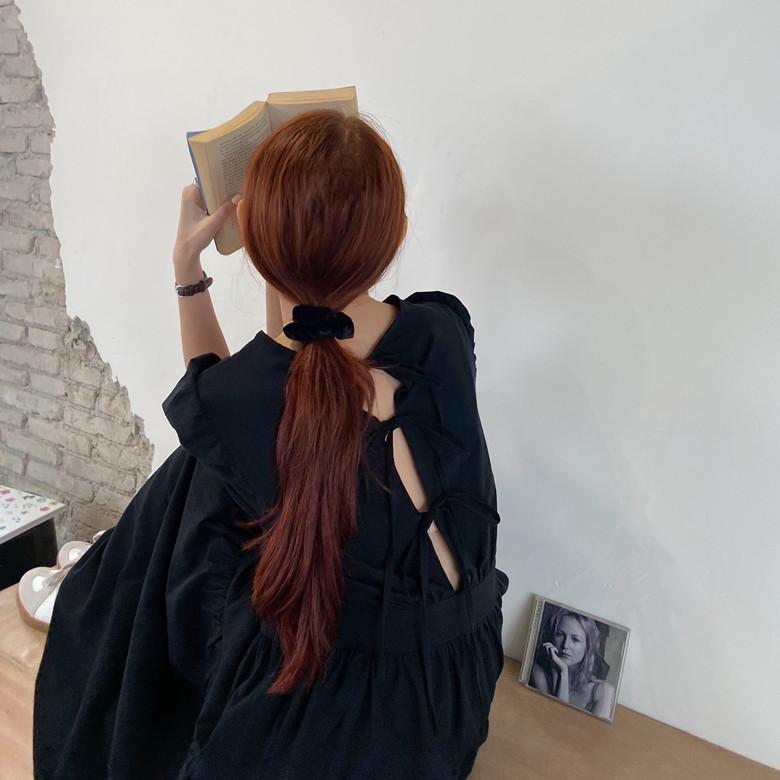 韓国 ファッション ワンピース 春 夏 カジュアル PTXJ990  バックリボン 背中見せ ティアード マキシ オルチャン シンプル 定番 セレカジの写真9枚目