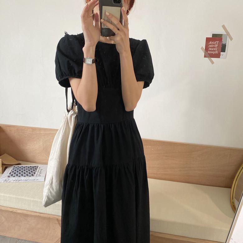 韓国 ファッション ワンピース 春 夏 カジュアル PTXJ990  バックリボン 背中見せ ティアード マキシ オルチャン シンプル 定番 セレカジの写真11枚目
