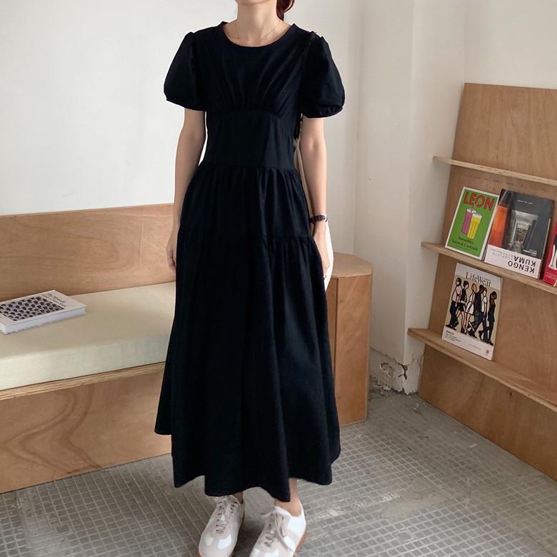 韓国 ファッション ワンピース 春 夏 カジュアル PTXJ990  バックリボン 背中見せ ティアード マキシ オルチャン シンプル 定番 セレカジの写真12枚目