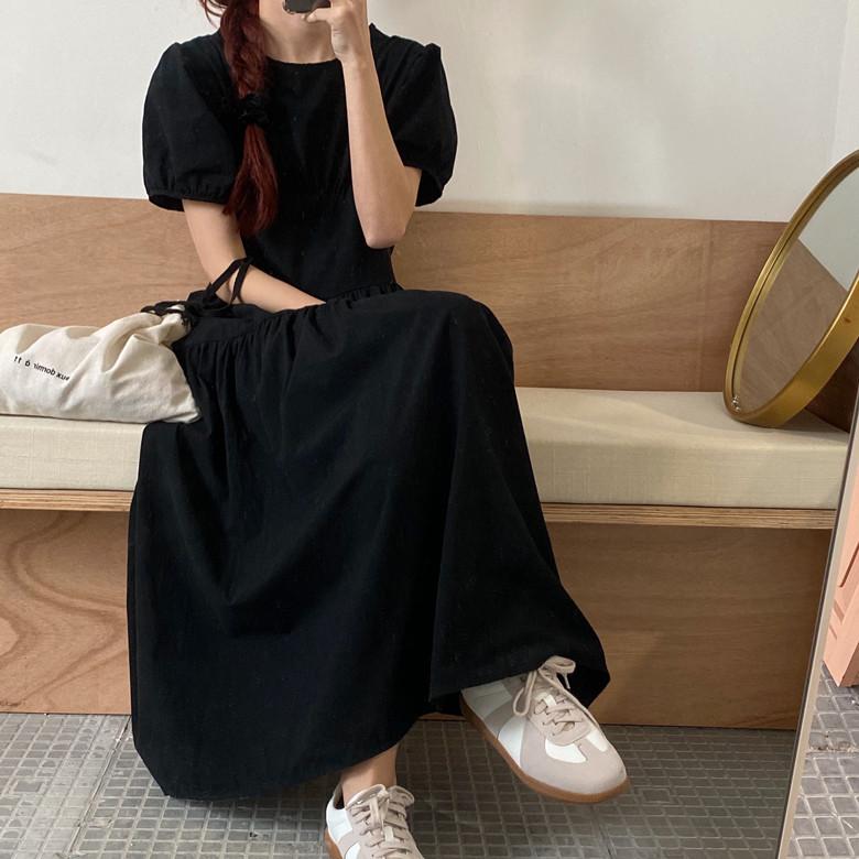 韓国 ファッション ワンピース 春 夏 カジュアル PTXJ990  バックリボン 背中見せ ティアード マキシ オルチャン シンプル 定番 セレカジの写真13枚目
