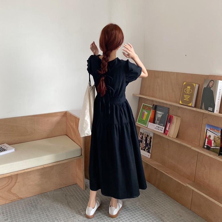 韓国 ファッション ワンピース 春 夏 カジュアル PTXJ990  バックリボン 背中見せ ティアード マキシ オルチャン シンプル 定番 セレカジの写真14枚目