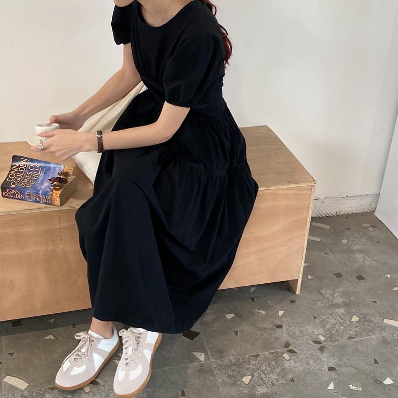 韓国 ファッション ワンピース 春 夏 カジュアル PTXJ990  バックリボン 背中見せ ティアード マキシ オルチャン シンプル 定番 セレカジの写真16枚目