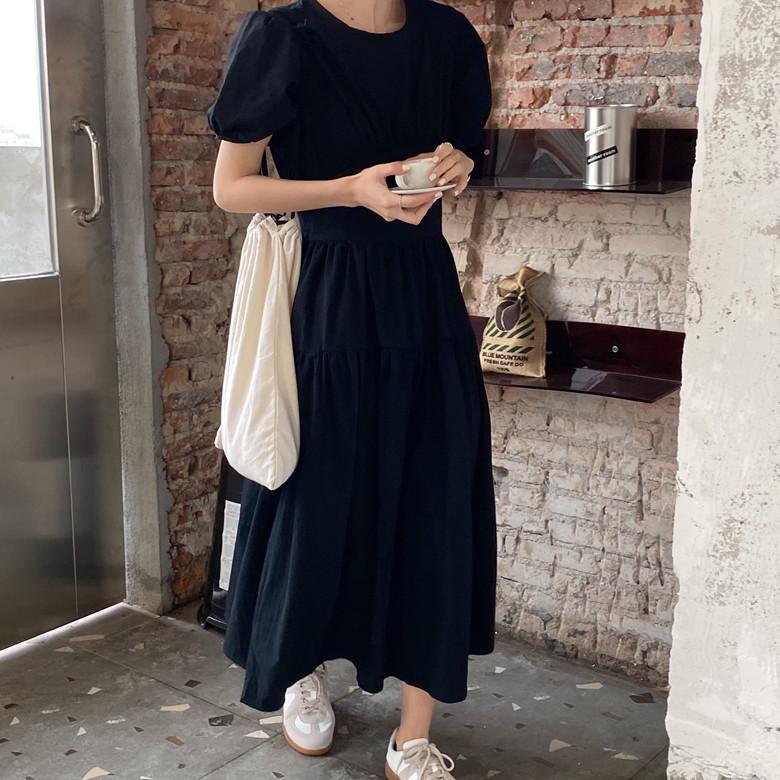 韓国 ファッション ワンピース 春 夏 カジュアル PTXJ990  バックリボン 背中見せ ティアード マキシ オルチャン シンプル 定番 セレカジの写真17枚目