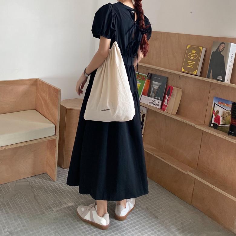 韓国 ファッション ワンピース 春 夏 カジュアル PTXJ990  バックリボン 背中見せ ティアード マキシ オルチャン シンプル 定番 セレカジの写真18枚目
