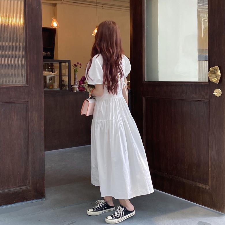 韓国 ファッション ワンピース 春 夏 カジュアル PTXJ990  バックリボン 背中見せ ティアード マキシ オルチャン シンプル 定番 セレカジの写真20枚目