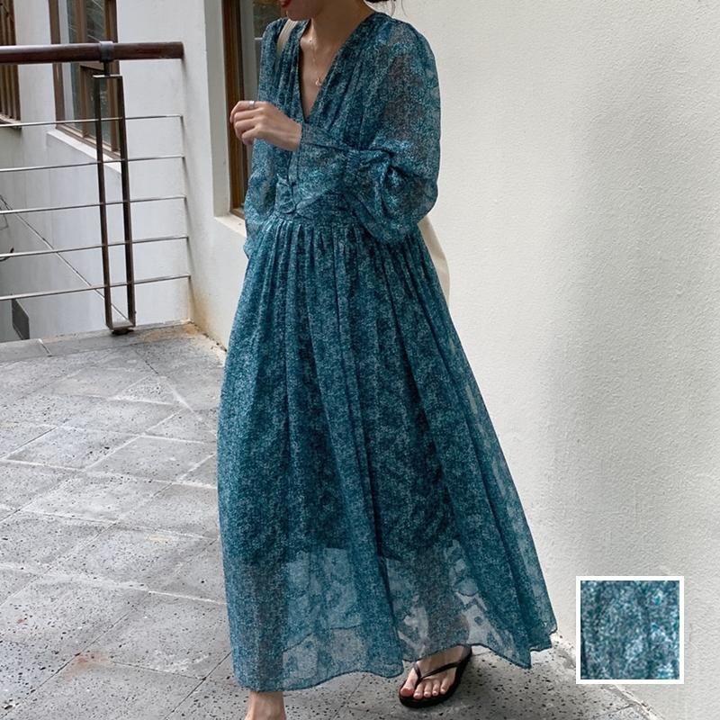 韓国 ファッション ワンピース 春 夏 カジュアル PTXJ993  カシュクール ドレープ シアー 背中見せ オルチャン シンプル 定番 セレカジの写真1枚目