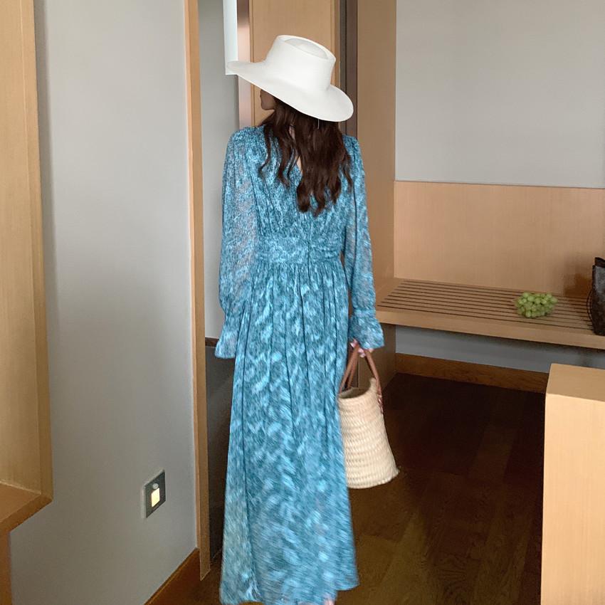 韓国 ファッション ワンピース 春 夏 カジュアル PTXJ993  カシュクール ドレープ シアー 背中見せ オルチャン シンプル 定番 セレカジの写真7枚目
