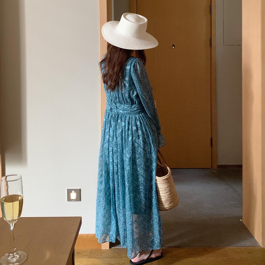 韓国 ファッション ワンピース 春 夏 カジュアル PTXJ993  カシュクール ドレープ シアー 背中見せ オルチャン シンプル 定番 セレカジの写真8枚目