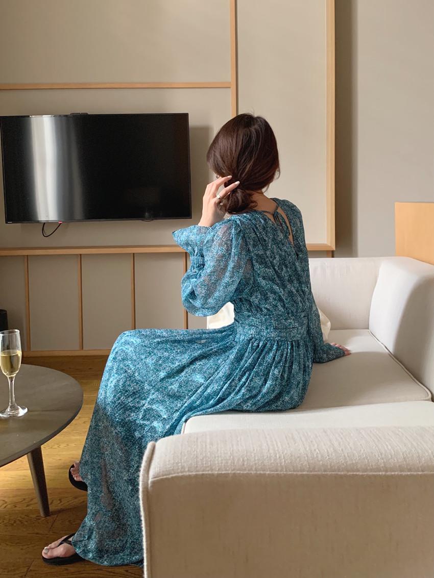 韓国 ファッション ワンピース 春 夏 カジュアル PTXJ993  カシュクール ドレープ シアー 背中見せ オルチャン シンプル 定番 セレカジの写真11枚目