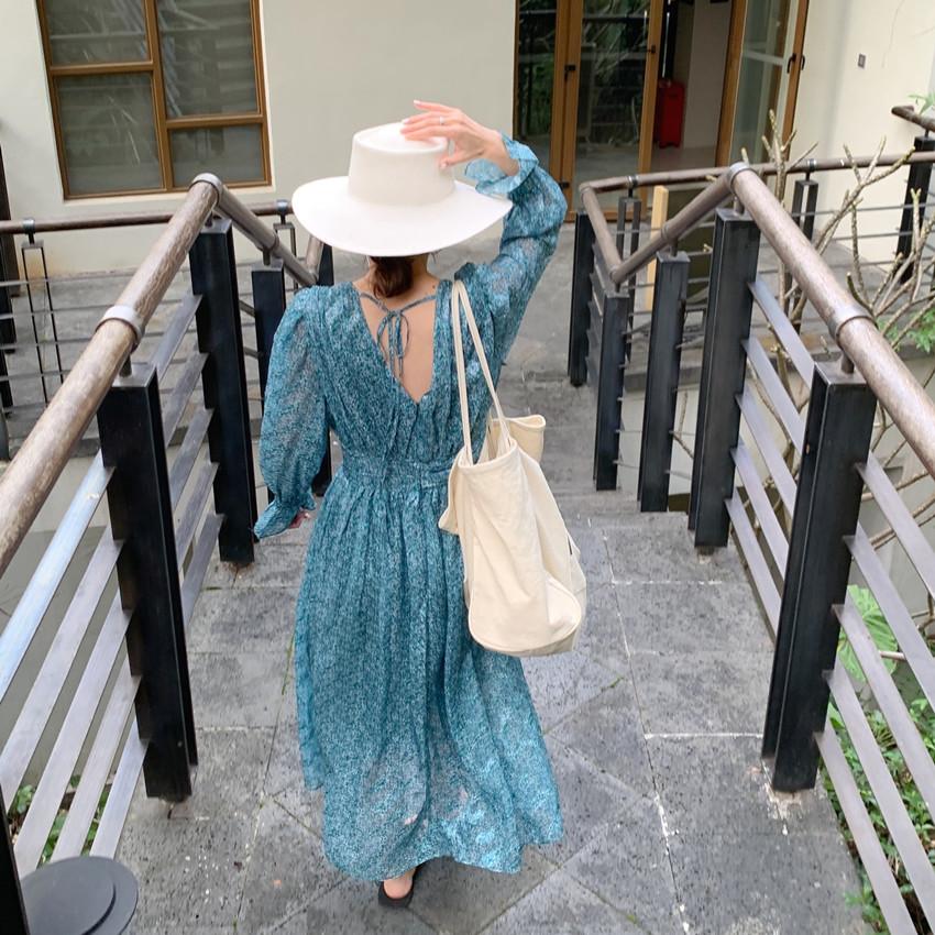 韓国 ファッション ワンピース 春 夏 カジュアル PTXJ993  カシュクール ドレープ シアー 背中見せ オルチャン シンプル 定番 セレカジの写真12枚目