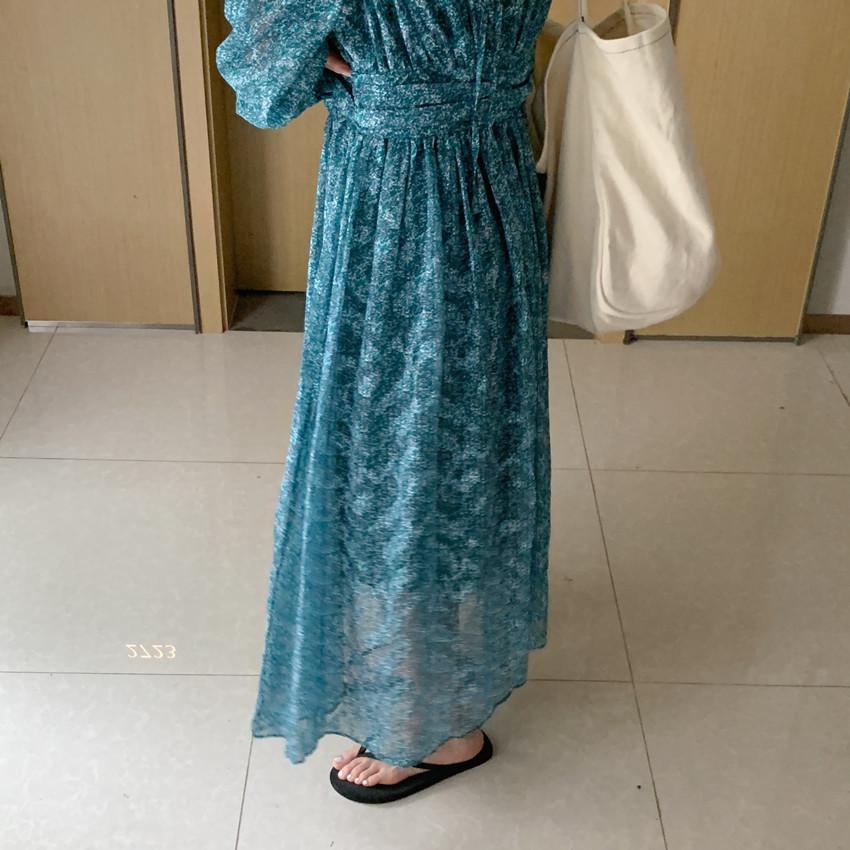韓国 ファッション ワンピース 春 夏 カジュアル PTXJ993  カシュクール ドレープ シアー 背中見せ オルチャン シンプル 定番 セレカジの写真13枚目