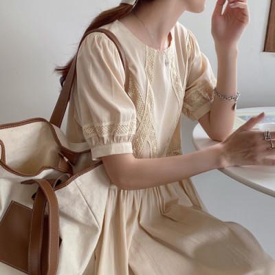 韓国 ファッション ワンピース 春 夏 カジュアル PTXJ995  はしごレース ウエストマーク ラフ ギャザー オルチャン シンプル 定番 セレカジの写真3枚目