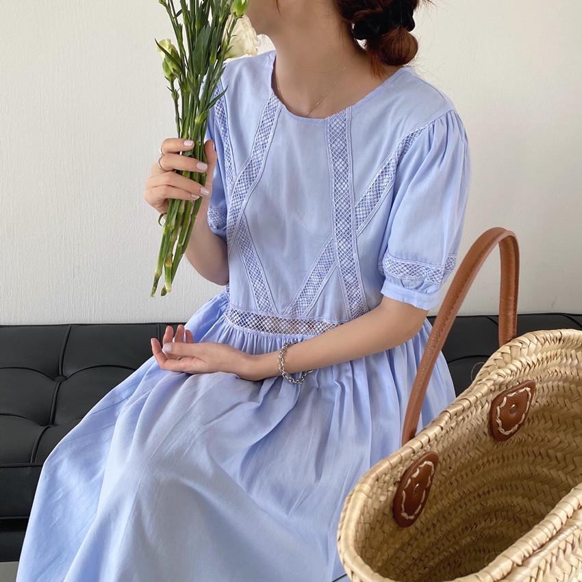 韓国 ファッション ワンピース 春 夏 カジュアル PTXJ995  はしごレース ウエストマーク ラフ ギャザー オルチャン シンプル 定番 セレカジの写真10枚目