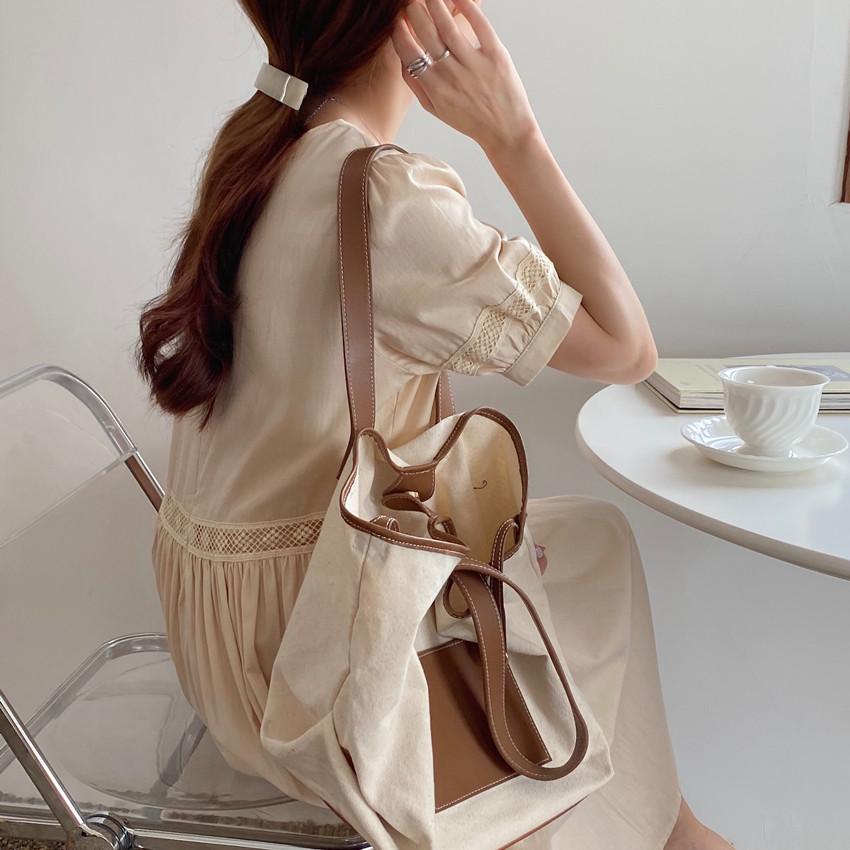 韓国 ファッション ワンピース 春 夏 カジュアル PTXJ995  はしごレース ウエストマーク ラフ ギャザー オルチャン シンプル 定番 セレカジの写真14枚目