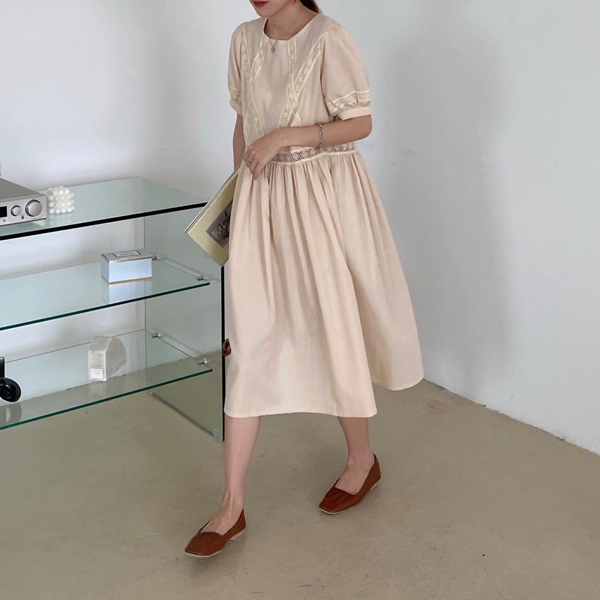 韓国 ファッション ワンピース 春 夏 カジュアル PTXJ995  はしごレース ウエストマーク ラフ ギャザー オルチャン シンプル 定番 セレカジの写真18枚目