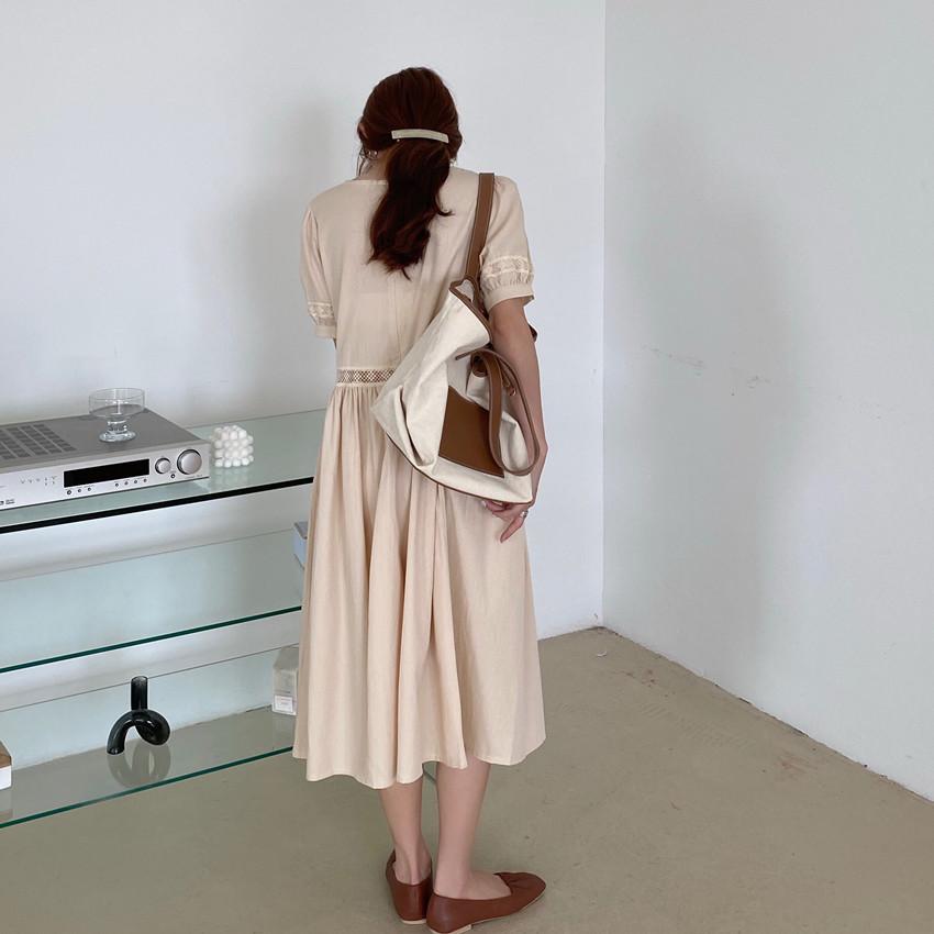 韓国 ファッション ワンピース 春 夏 カジュアル PTXJ995  はしごレース ウエストマーク ラフ ギャザー オルチャン シンプル 定番 セレカジの写真20枚目