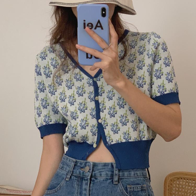 韓国 ファッション トップス カーディガン 春 夏 カジュアル PTXK001  渋色 サマーニット リブ ショート 肌見せ オルチャン シンプル 定番 セレカジの写真2枚目