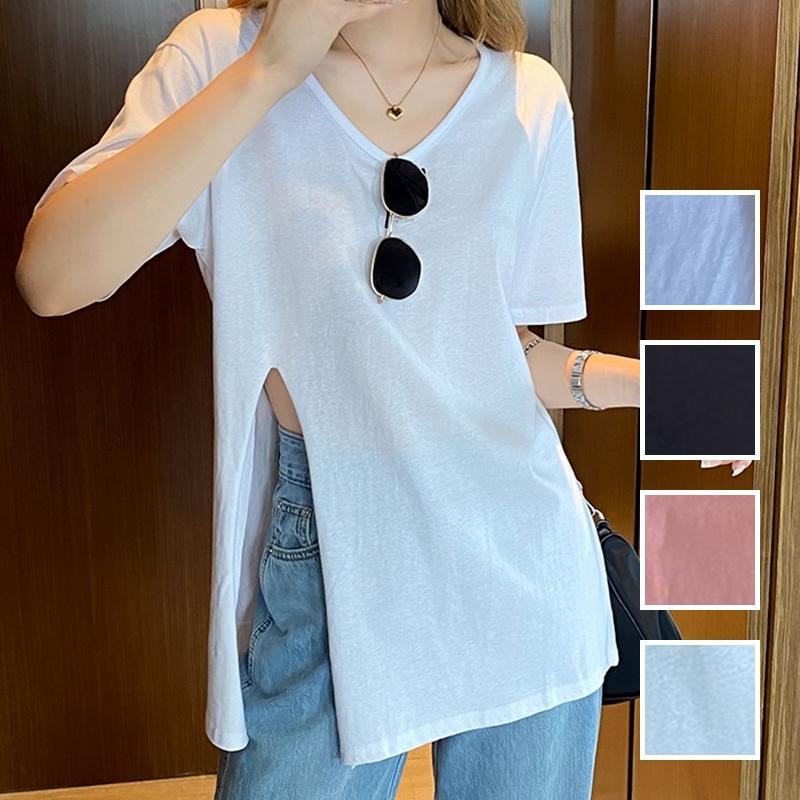 韓国 ファッション トップス Tシャツ カットソー 春 夏 カジュアル PTXK022  スリット 肌見せ オーバーサイズ プルオーバー オルチャン シンプル 定番 セレカジの写真1枚目