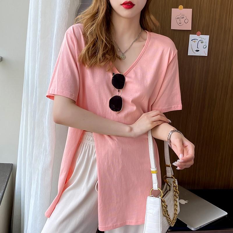 韓国 ファッション トップス Tシャツ カットソー 春 夏 カジュアル PTXK022  スリット 肌見せ オーバーサイズ プルオーバー オルチャン シンプル 定番 セレカジの写真3枚目