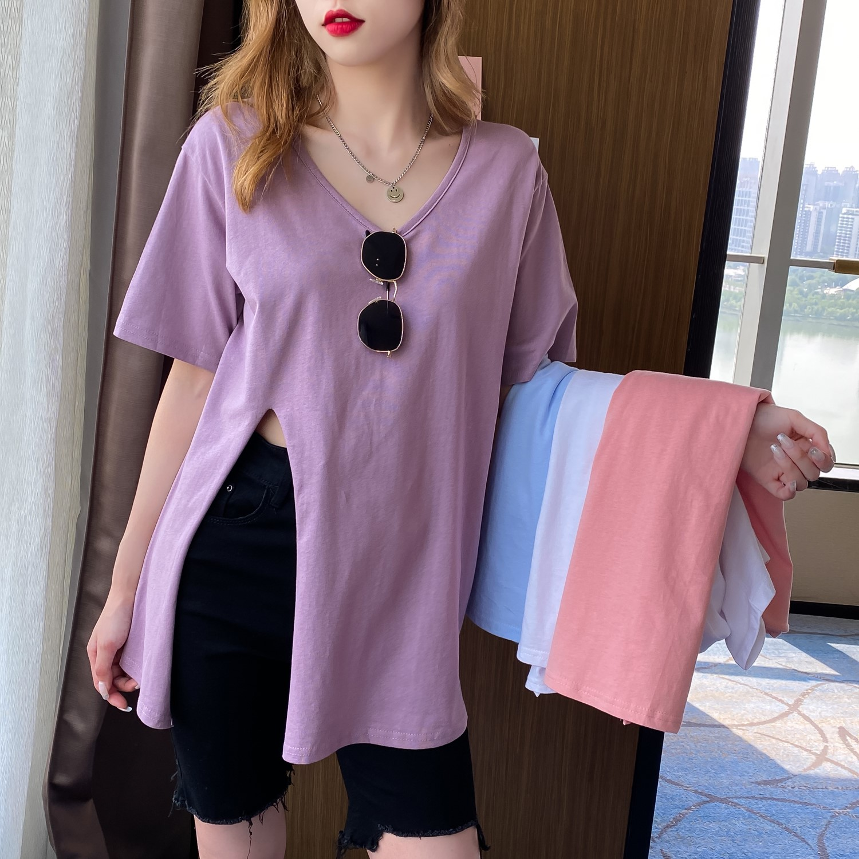 韓国 ファッション トップス Tシャツ カットソー 春 夏 カジュアル PTXK022  スリット 肌見せ オーバーサイズ プルオーバー オルチャン シンプル 定番 セレカジの写真5枚目