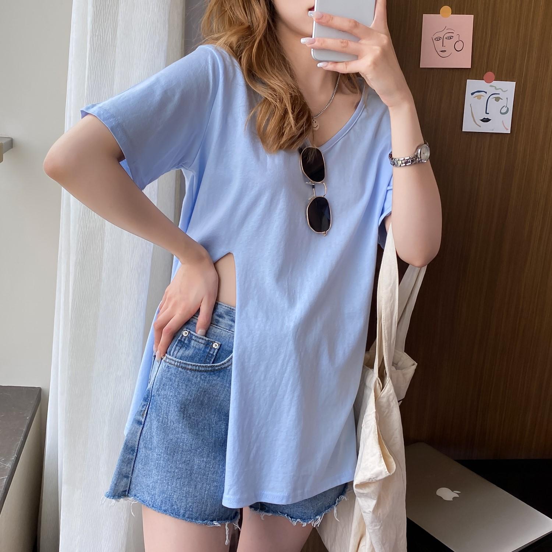 韓国 ファッション トップス Tシャツ カットソー 春 夏 カジュアル PTXK022  スリット 肌見せ オーバーサイズ プルオーバー オルチャン シンプル 定番 セレカジの写真6枚目