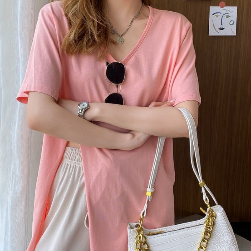 韓国 ファッション トップス Tシャツ カットソー 春 夏 カジュアル PTXK022  スリット 肌見せ オーバーサイズ プルオーバー オルチャン シンプル 定番 セレカジの写真7枚目