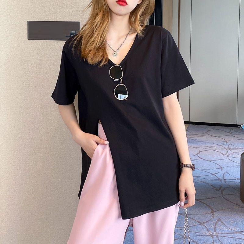 韓国 ファッション トップス Tシャツ カットソー 春 夏 カジュアル PTXK022  スリット 肌見せ オーバーサイズ プルオーバー オルチャン シンプル 定番 セレカジの写真12枚目