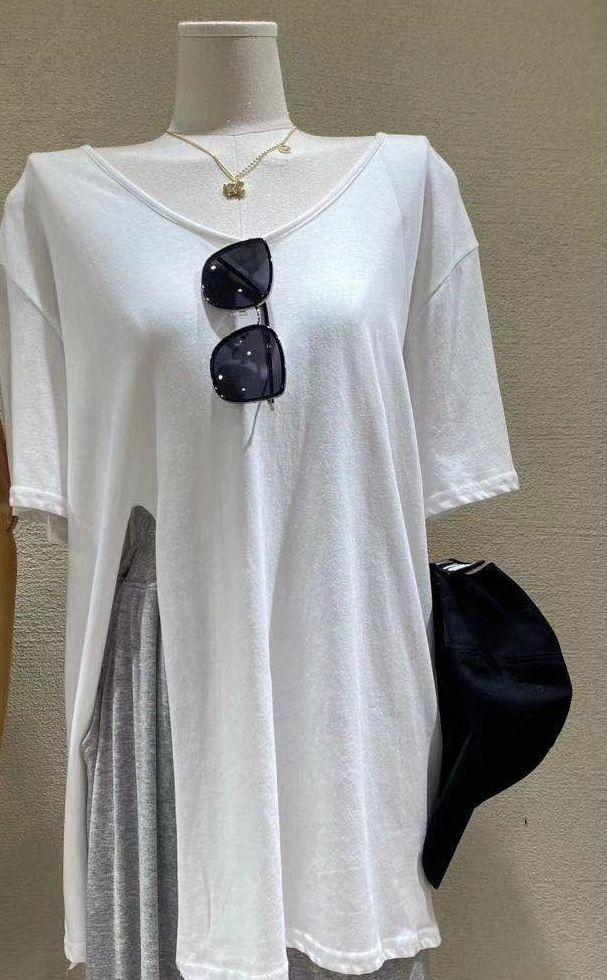 韓国 ファッション トップス Tシャツ カットソー 春 夏 カジュアル PTXK022  スリット 肌見せ オーバーサイズ プルオーバー オルチャン シンプル 定番 セレカジの写真13枚目