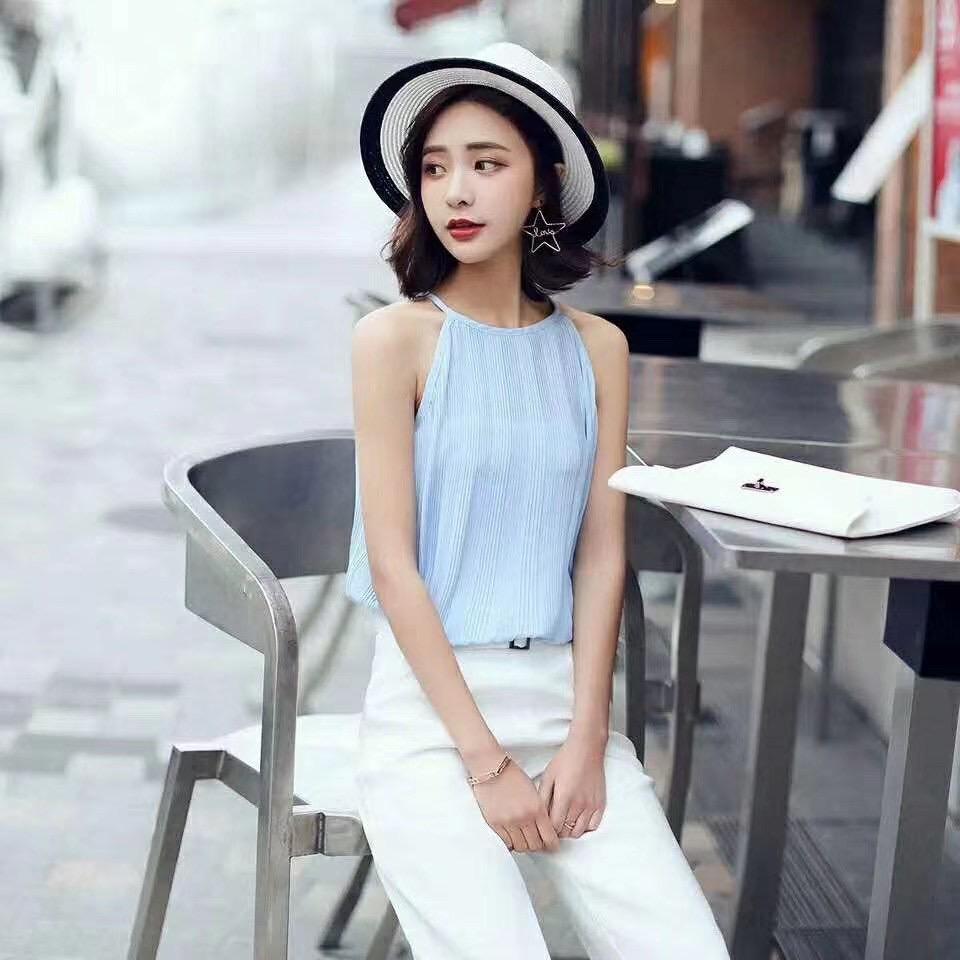 韓国 ファッション トップス ブラウス シャツ 春 夏 カジュアル PTXK026  プリーツ ホルターネック風 肩見せ セクシー オルチャン シンプル 定番 セレカジの写真3枚目
