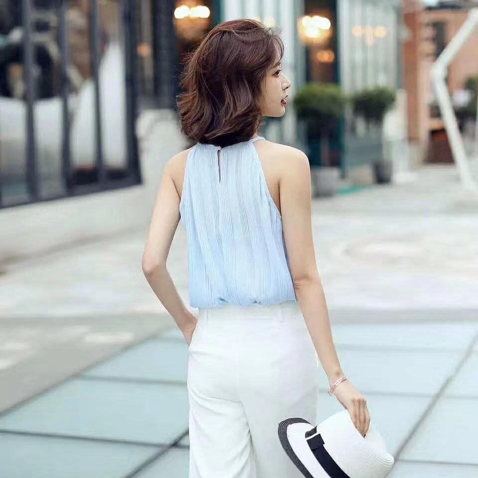 韓国 ファッション トップス ブラウス シャツ 春 夏 カジュアル PTXK026  プリーツ ホルターネック風 肩見せ セクシー オルチャン シンプル 定番 セレカジの写真4枚目