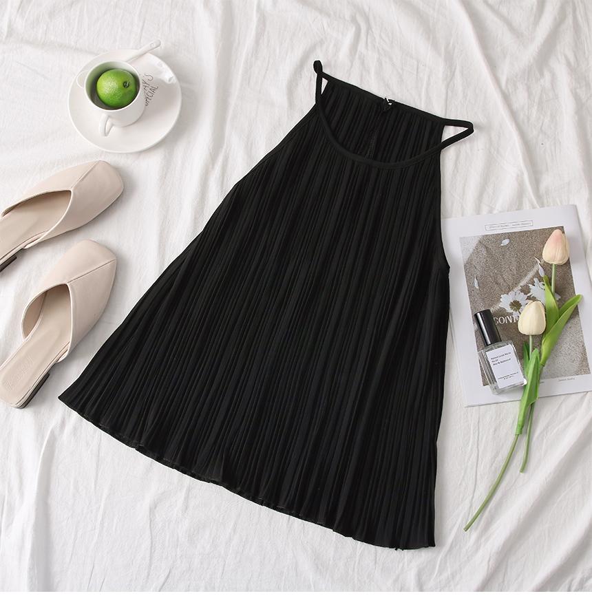 韓国 ファッション トップス ブラウス シャツ 春 夏 カジュアル PTXK026  プリーツ ホルターネック風 肩見せ セクシー オルチャン シンプル 定番 セレカジの写真10枚目