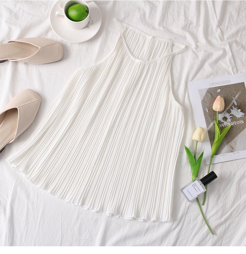 韓国 ファッション トップス ブラウス シャツ 春 夏 カジュアル PTXK026  プリーツ ホルターネック風 肩見せ セクシー オルチャン シンプル 定番 セレカジの写真11枚目